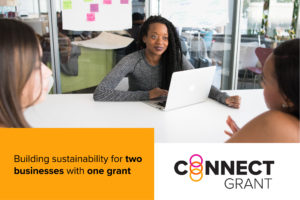 "A photo of a three BIPOC women sitting at what appears to be a board room table in an office. The text says ""Connect Grant. Building sustainability for two businesses with one grant."""
